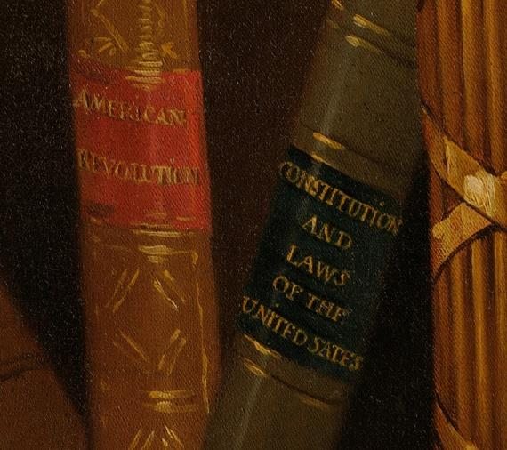 A detail of the copy of Gilbert Stuart's famous Lansdowne portrait of George Washington