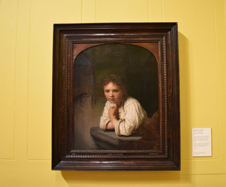 'Girl at a Window' in situ at Dulwich Picture Gallery