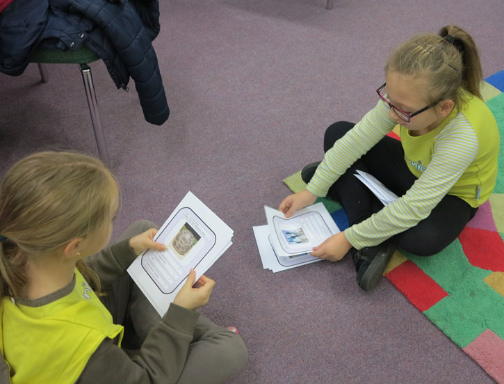 Harlow Brownies trying out the first version of Sculpture Counts at Tye Green Library
