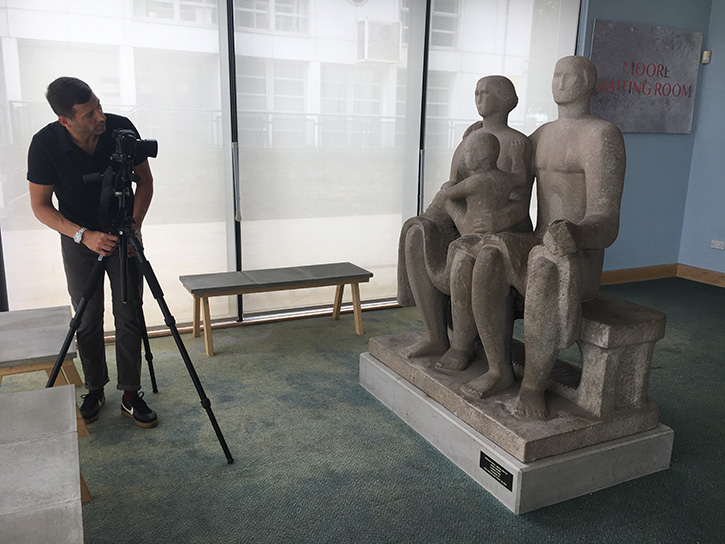 Jaron James photographing Henry Moore's 'Harlow Family Group'