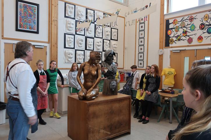 Sculptor Andrew Sinclair at Great Torrington School