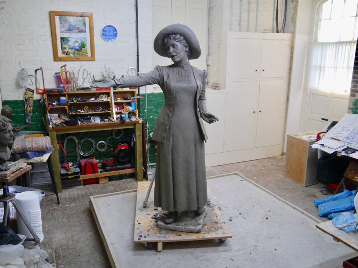 The full-size clay model for the statue in Hazel Reeves' studio