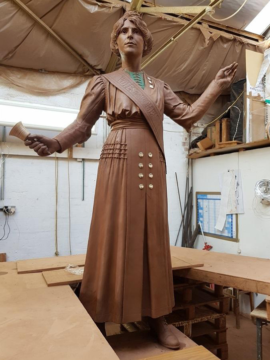 The finished, full-size clay model for the statue of Annie Kenney