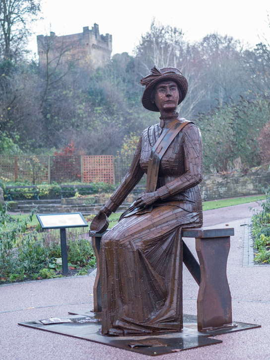 The statue of Emily Wilding Davison, by Ray Lonsdale, Carlisle Park, Morpeth