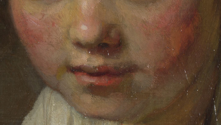 Detail of 'Girl at a Window' showing the nose