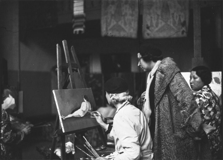 French painter Marie Laurencin (1853–1956) in her atelier with some of her students