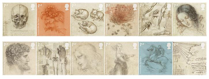 Leonardo da Vinci set of stamps