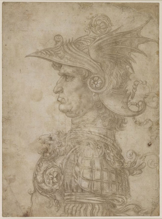 A bust of a warrior in profile, wearing a winged helmet and armour bearing a lion on the breast