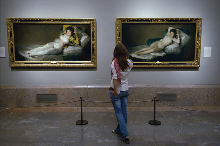 Goya's clothed and naked Majas in the Prado Museum, Madrid