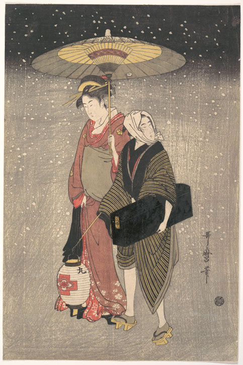 Geisha Walking through the Snow at Night