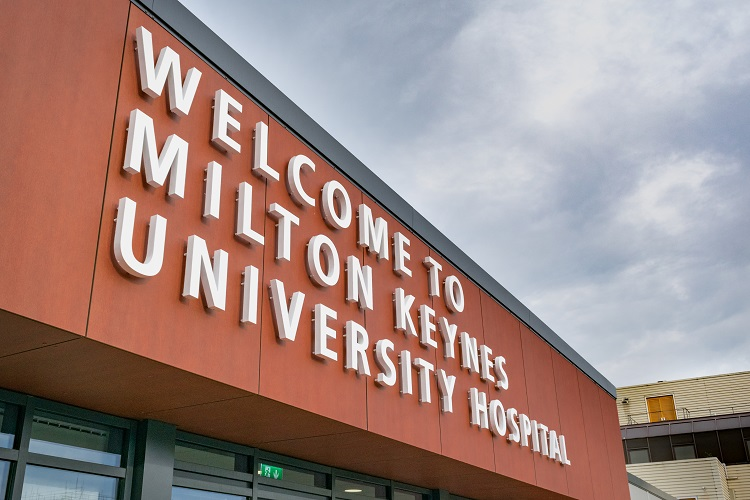 The entrance to Milton Keynes University Hospital