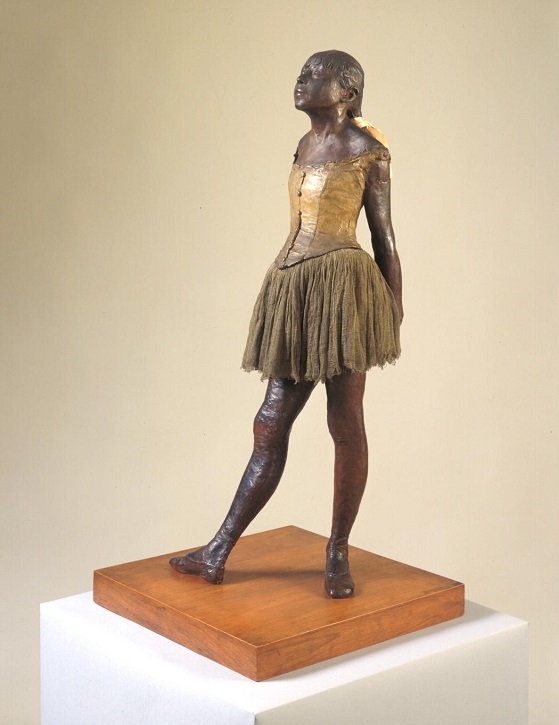 1880–1881, cast c.1922, painted bronze with muslin & silk on wooden base by Edgar Degas (1834–1917)