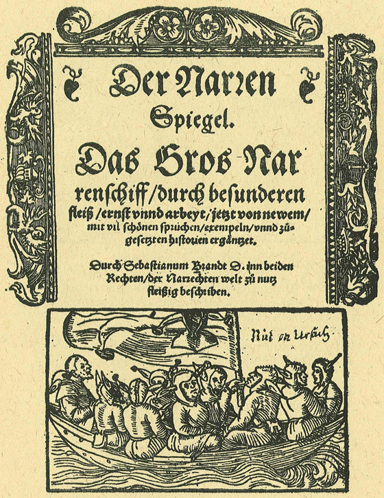 Title page from Sebastian Brant's satire 'Der Narrenspiegel, das gros Narrenschiff' (Ship of Fools)