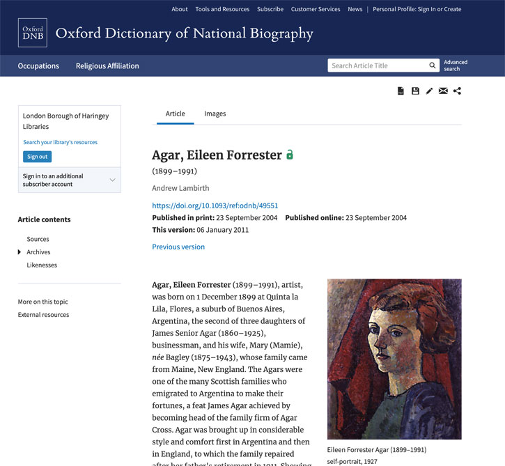 Eileen Agar's entry for the ODNB