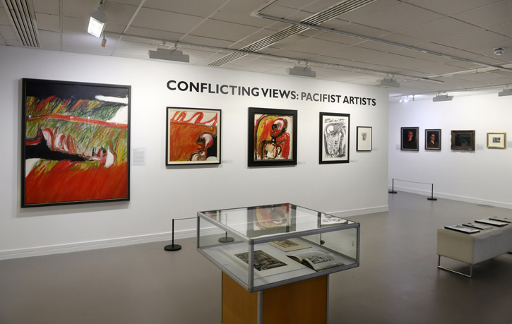 The 2018 exhibition 'Conflicting Views: Pacifist Artists' in the Otter Gallery