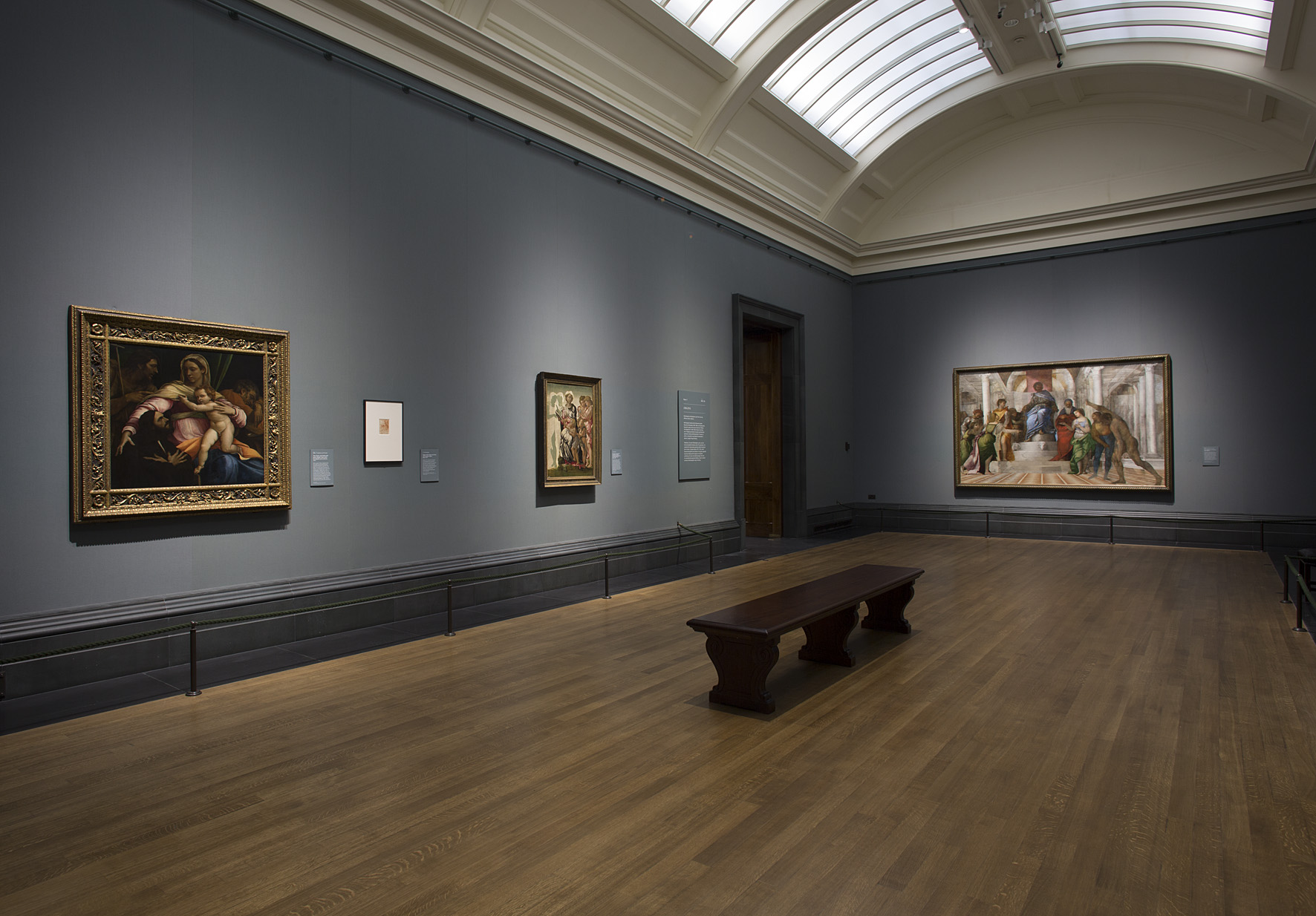 Room one, showing 'Manchester Madonna' and 'Judgement of Solomon'