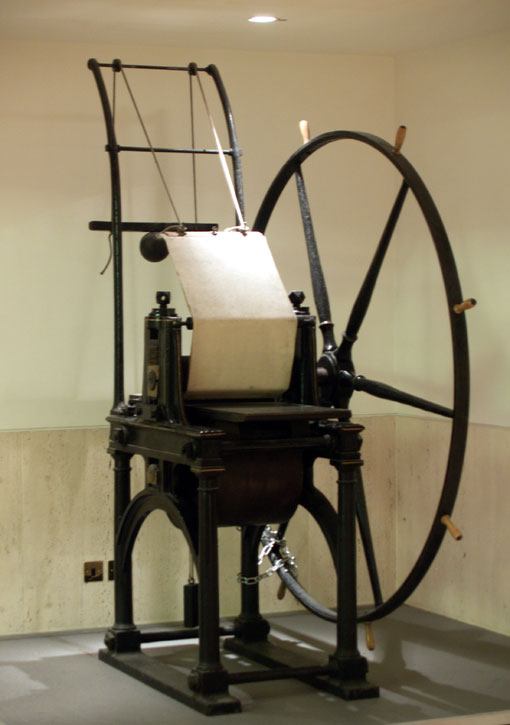 Penny Black printing press in the British Library
