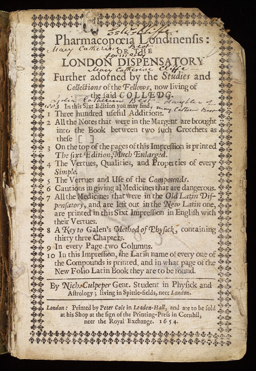 Title page of Culpeper's 'Pharmacopoeia Londinensis'