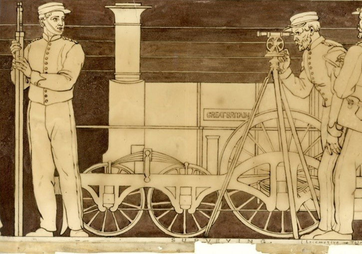 'Engineering' detail, showing a locomotive, surveyors and telegraph wires