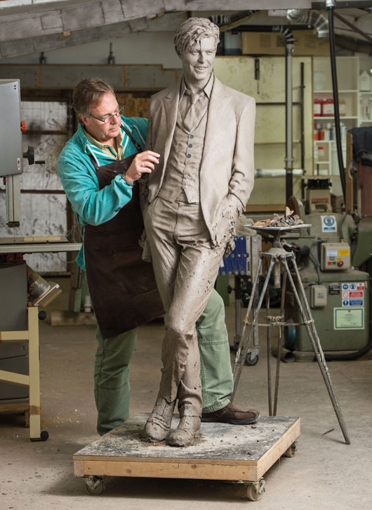 Andrew Sinclair working on his David Bowie sculpture