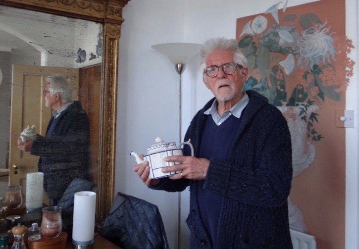 Artist Robert Brown and his teapot