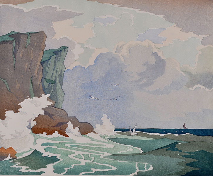 1929, colour woodcut by Eric Slater (1896–1963)