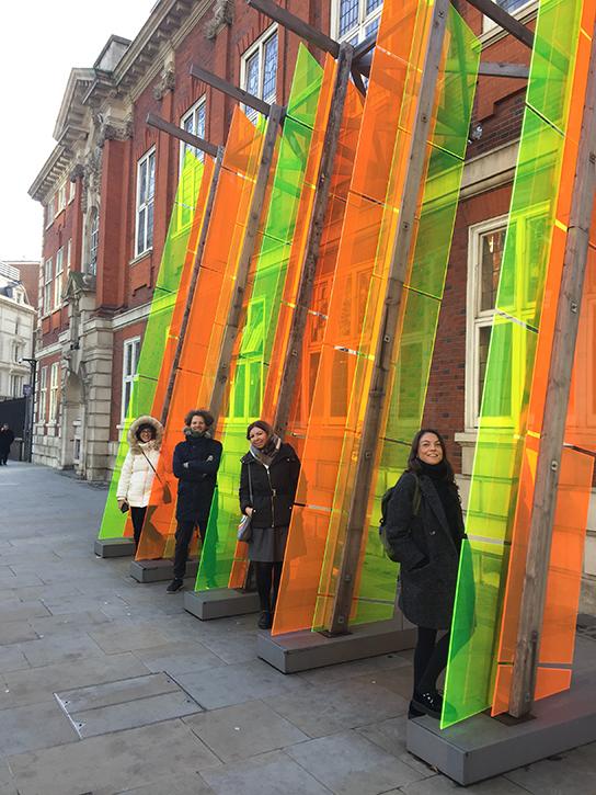 Sofia, Konstantinos, Valentina and Eirini, with Jyll Bradley's 'Dutch/Light (for Agneta Block)'
