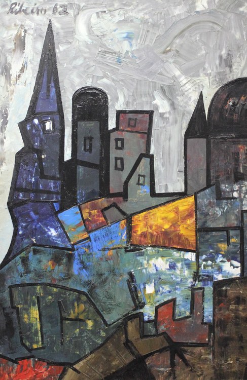 Untitled (Townscape), 1962, oil on board by Lancelot Ribeiro