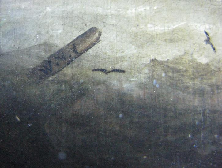 Detail of Willem van de Velde II's initials