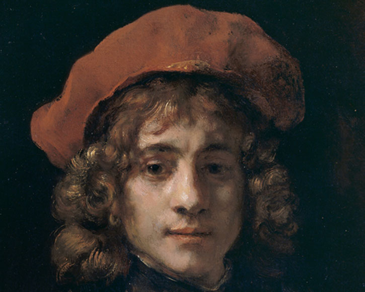 (detail of the face), c.1657, oil on canvas by Rembrandt van Rijn (1606–1669)