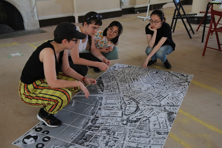 Claire working with participants Fang Jui-Chang, Mingyi Liu and Zoe Kahane