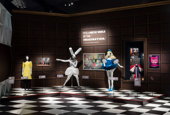 Installation image of 'Alice Curiouser and Curiouser' at the V&A