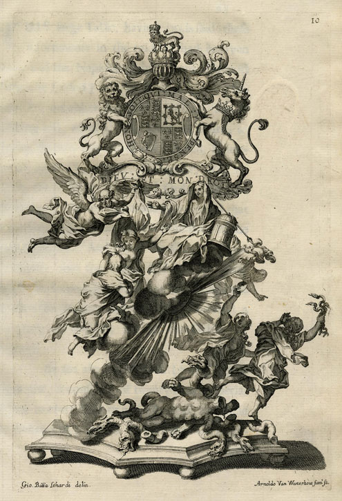 1687, etching by Arnold van Westerhout (1651–1725) after Giovanni Battista Lenardi (1656–1704), an illustration to John Michael Wright's 'An Account of his Excellence Roger Earl of Castelmaine's Embassy from his sacred Majesty James the IId' (London, 1688), plate 10. The sculpture was used for the banquet offered by the Earl of Castlemaine on 14th January 1687