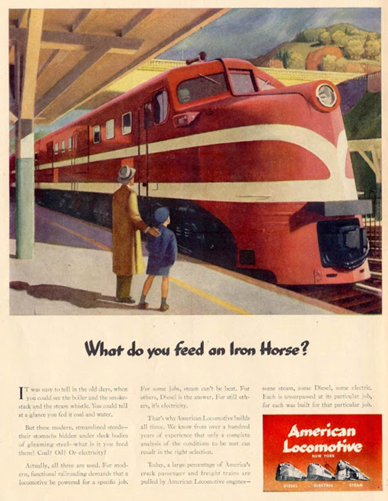 Advertisement designed for the American Locomotive Company