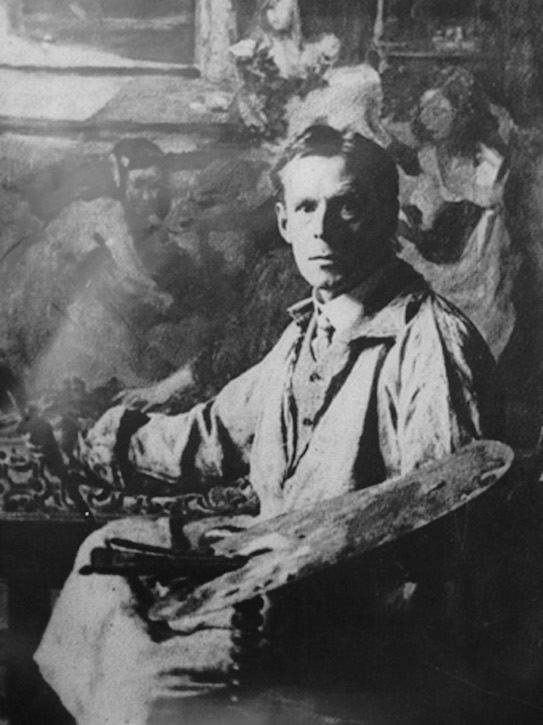 Charles H. Mackie with the painting 'For Harvest Festival', 1907