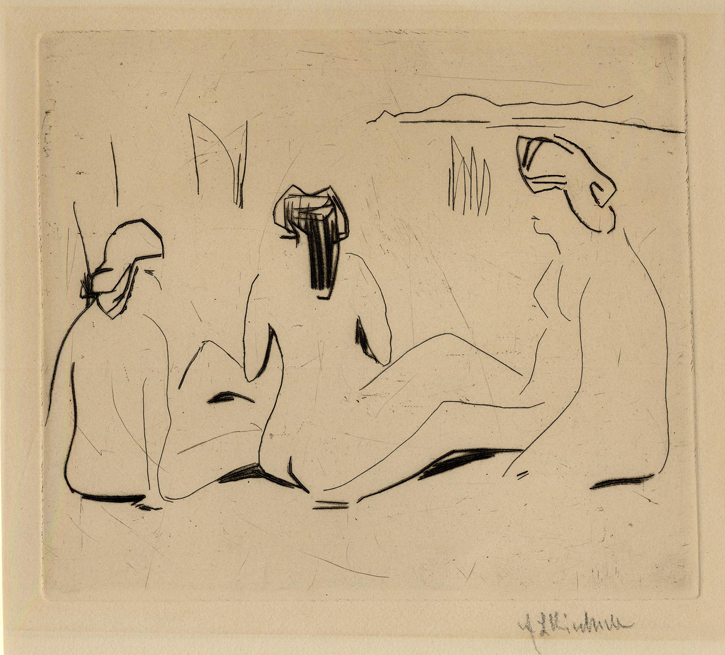 Three bathers at the Moritzburg lakes; seated, seen from behind
