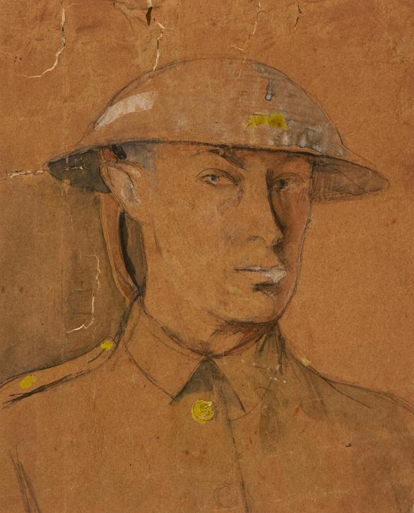 Self-Portrait in Army Steel Helmet