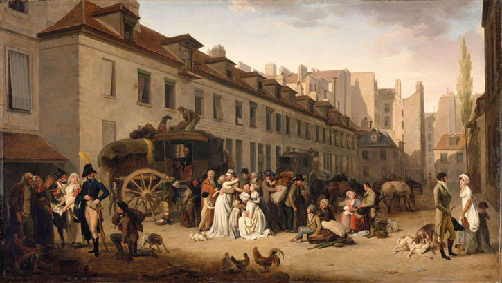 Arrival of a Stagecoach in the Cour des Messageries, Rue Notre-Dame-des-Victoires
