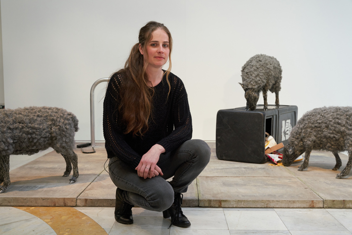 Candice Bees with her sculpture