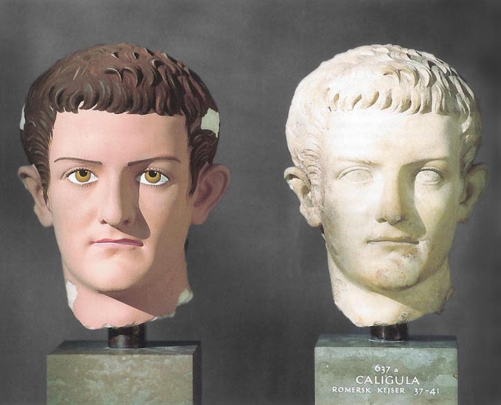 The original and the painted copy of Caligula