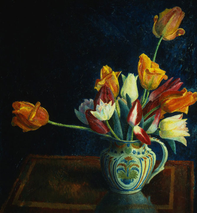 Painting of Tulips in a Staffordshire Jug