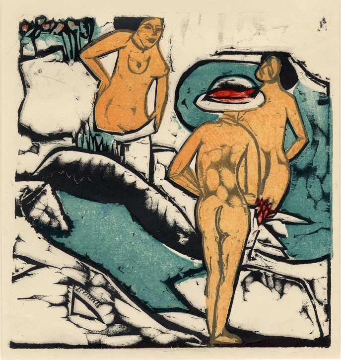 Women bathing between white stones