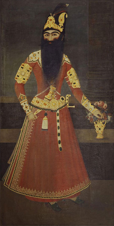 Full-length portrait of the Qajar ruler Fath 'Ali Shah