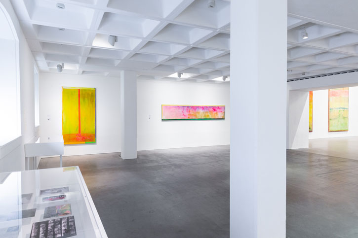 Installation image of Frank Bowling's 'Land of Many Waters' at the Arnolfini