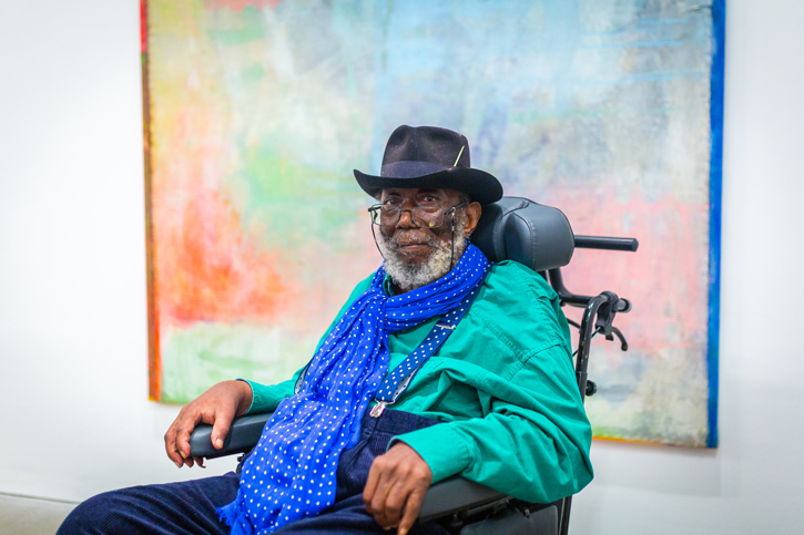 Frank Bowling at the 'Land of Many Waters' preview day