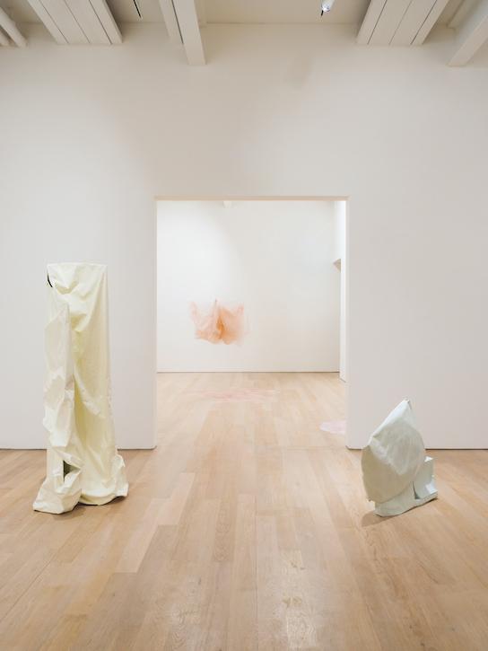Installation view of 'Karla Black, sculptures (2001–2021), details for a retrospective'