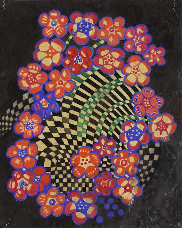 Textile design: tobacco flower