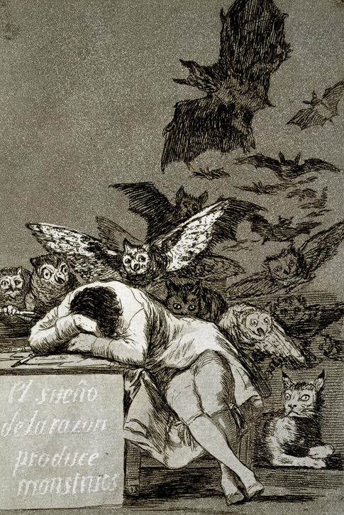 The sleep of reason produces monsters (no. 43) from 'Los Caprichos'
