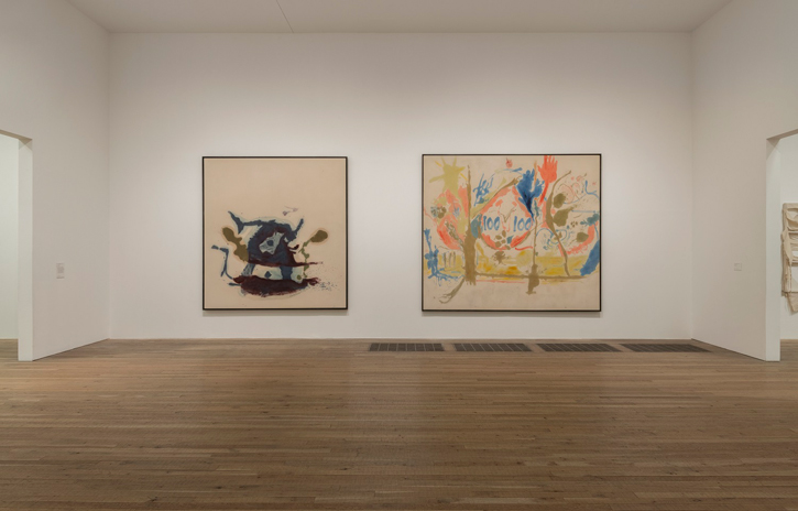 Installation shot of the Helen Frankenthaler display at Tate Modern