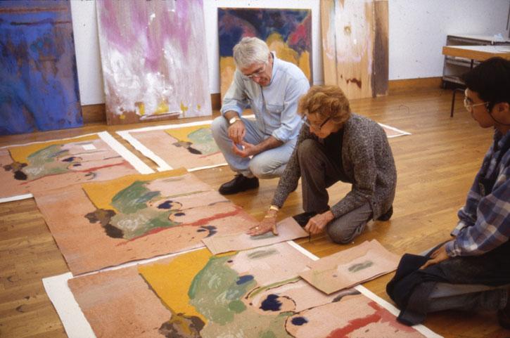 Kenneth Tyler, Helen Frankenthaler and Yasuyuki Shibata inspect proofs of 'Tales of Genji I' in the Tyler Graphics studio, 1997